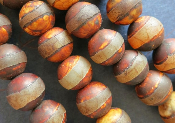 2 strands -Antique Coffee Brown Tibetan Agate Round Ball 10mm Stripes-38pcs/strand