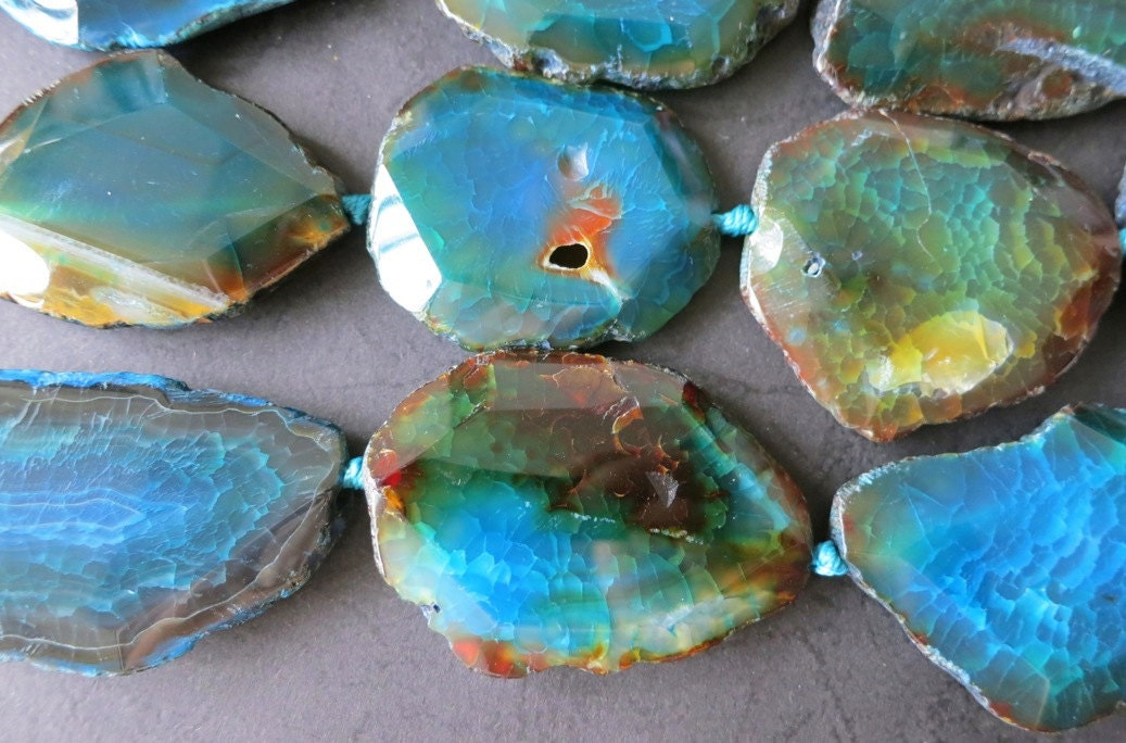 Large Teal Blue Agate Slab Beads 25x37x8mm 8pcs/Strand