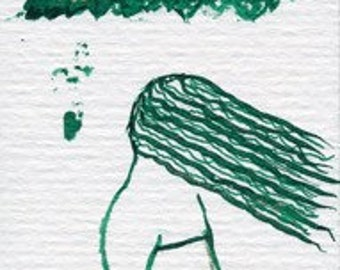 """OOAK hand-drawn bookmark """"The Girl and The Fall"""" with green pen and ink drawing. Small OOAK gift for book lover, for school friend"""