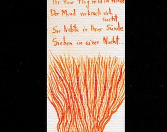 OOAK hand-drawn bookmark, signed, original orange ink drawing of nude woman with long red hair and German poetry quote
