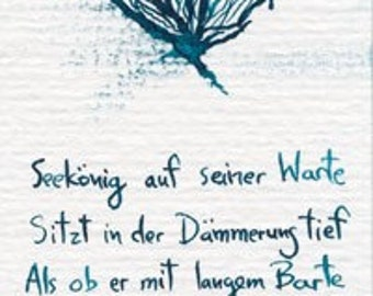 OOAK hand-painted bookmark with see god and verses in German. Signed