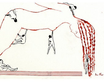 """Nude ink drawing postcard 5.9""""x4.1"""". The selfless love of a man to a red-haired woman or emotional dependency?"""