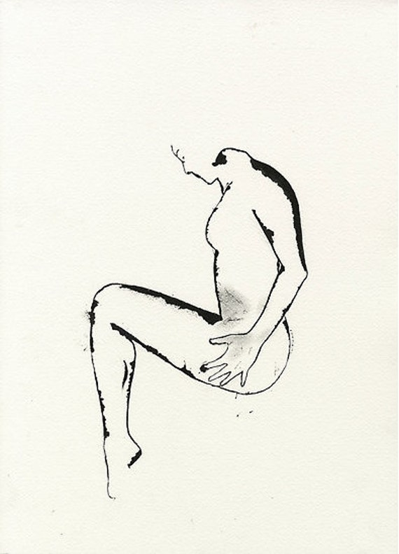 Female Nude, original ink drawing