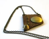 OOAK - vintage button on brown leather pendant