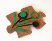 Puzzle Brooch - Leather