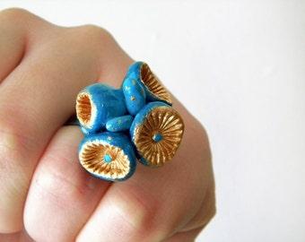 Gold blue ring OOAK Petrol ring  - Sculpted ring art statement ring adjustable base
