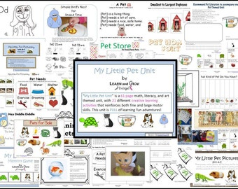 My Little Pet Themed Learning Unit - Contains 62 Pages of: Art, Literacy, and Math Activities
