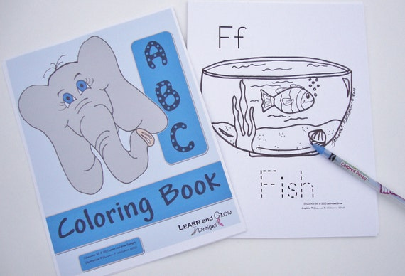 Printable Alphabet Coloring Book with Traceable Words