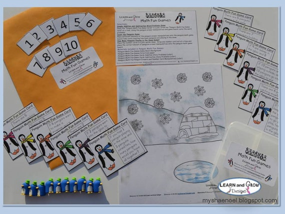 Penguin Math Fun Addition and Subtraction Games (Ready Made to Ship)