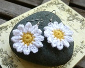 Handmade Crochet Daisies Earrings