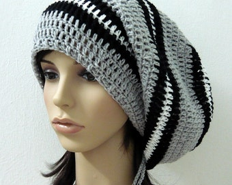 Handmade Crochet Long Stripes Slouch -  Mix Grey/Black/White LS75/74/51 - made to order