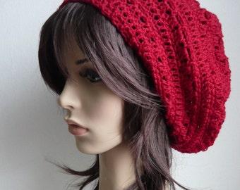 Handmade Crochet Short Rasta Tam - Wine Red RT72 - made to order