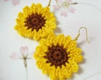 Handmade Crochet Sunflowers Earrings