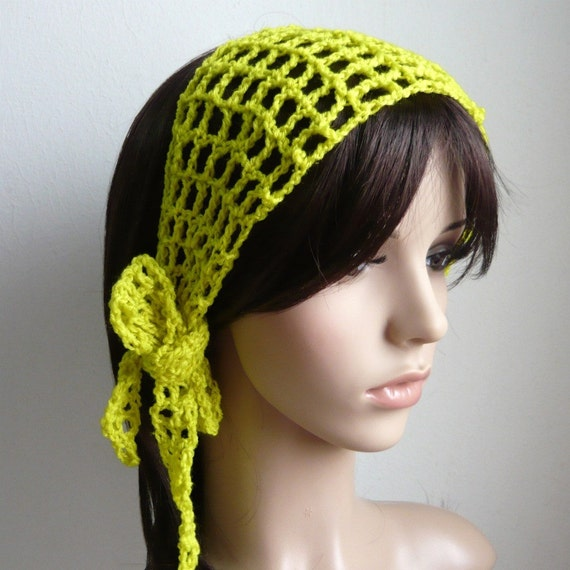 Crochet Gypsy Style Hair Band Pattern : Gypsy style Crochet Hair band / short scarf in pear color OR choose ...