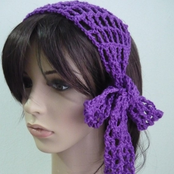 Crochet Gypsy Style Hair Band Pattern : Items similar to Gypsy style Crochet Hair band / short scarf in violet ...