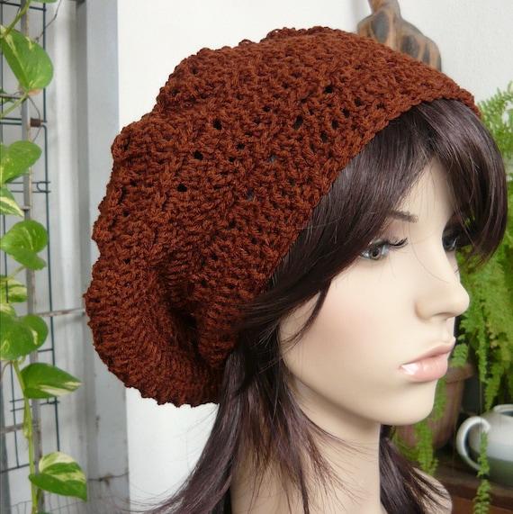Handmade Crochet Short Rasta Tam - Chocolate RT71 - made to order