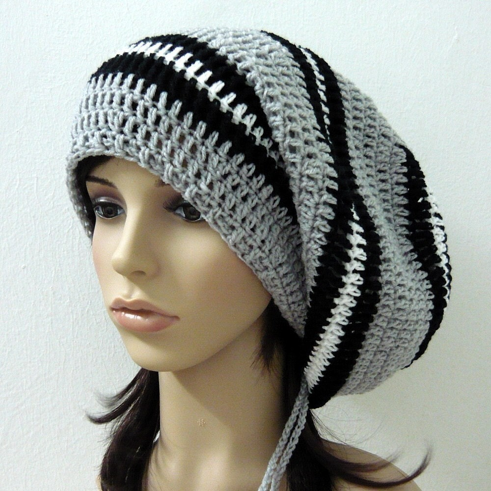 Crochet Slouch Hat: Beret Slouch Crochet Tam Hat In Mix Grey Shades By
