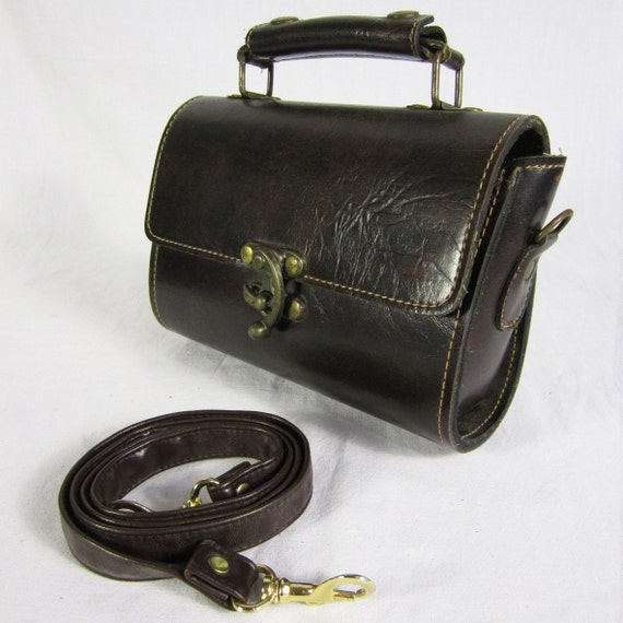 French TROCADERO Dark Brown Genuine Leather Shoulder Bag with Special Hook