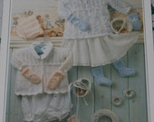 BABY KNITTING PATTERN  18-20inches    46-51cms Matinee coat Angel top,bonnet,booties mitts