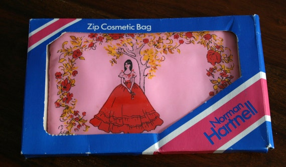 Pink Vintage Norman Hartnell Zip Cosmetic bag - 1950s - Boxed