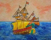 vintage nautical // Handpainted Ship Tile Wall Art or Trivet - The Sea Shanty