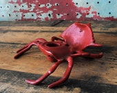 "RESERVED 1955 Cast Iron Red Crab Inkwell/Ashtray Stamped ""SRC"""