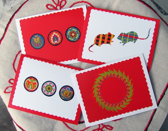 The Turkey Red Collection - Set of 4 Blank Cards with Envelopes