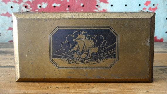 Nautical Ship Sailboat Engraved Brass and Wood Humidor Box L.F. Grammes & Sons