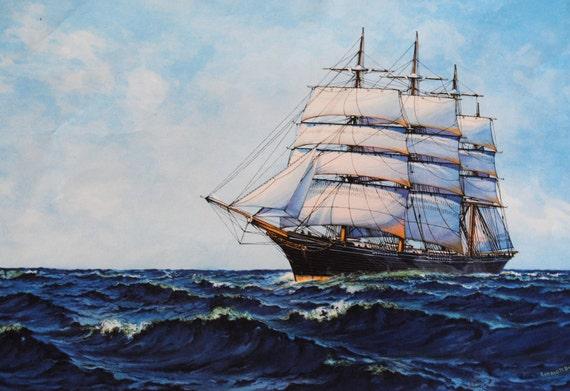 "1926 Gerald M. Burn ""Queen of the Sea"" Sailing Ship Bookplate Print"