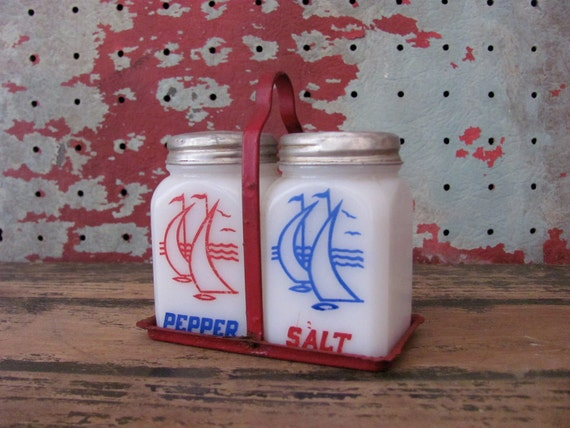 1930s Sailboat Milk Glass Salt and Pepper Set with Tin Caddy