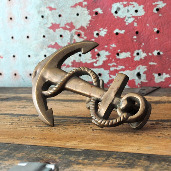 Vintage Brass Anchor and Rope Door Knocker