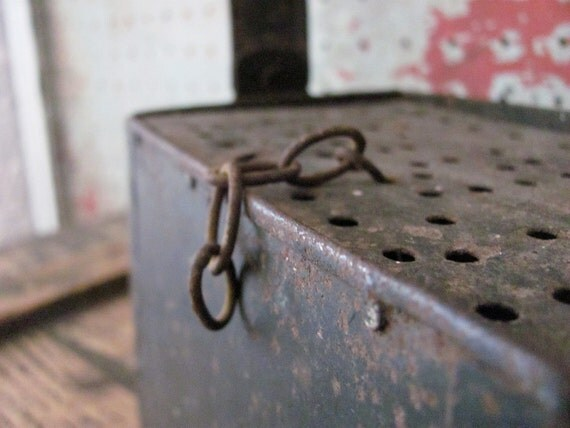 vintage c. 1940s rusty metal bait box