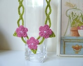 Lime Green Crochet Necklace with Pink Daisy Flowers and White beads great for summer