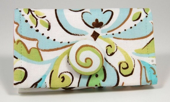Flower Bloom with Swirl Button with Pink Lining Business Card Holder / Small Wallet