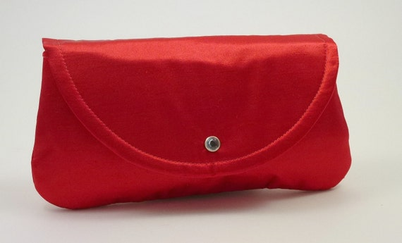 Envelope Style Clutch Handbag in Red Shantung Sateen Bridesmaid Gift Idea Holidays or Special Occasions