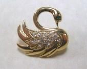 antique vintage rhinestone swan brooch
