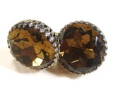Antique vintage signed Coro screw on faceted amber toned cabochon earrings