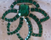 Gatsby Art Deco Emerald Green Dress Clip Czech Glass Lotus