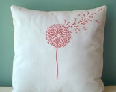 Coral Pink Dandelion Pillow Cover