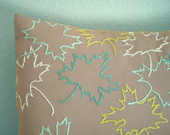 SALE Fall Leaves Grey Pillow Cover