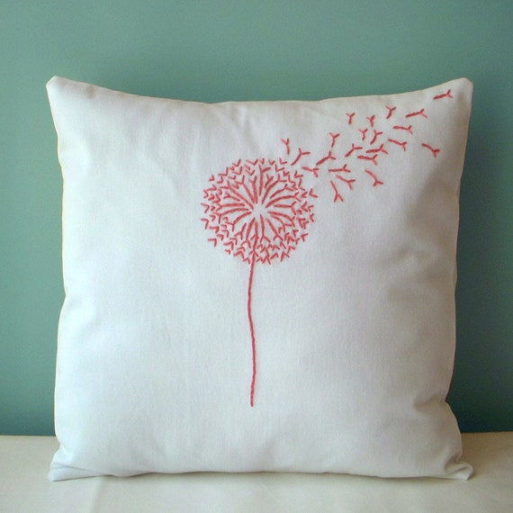 Pink dandelion pillow by madahms on etsy