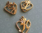 Gold Plated Cursive Initial Heart Charms