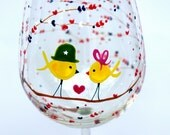Mr. & Mrs. Yellow Ribbon Birds - Support Our Troops and Families : 1 Wine Glass