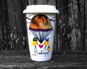 Support Our Troops: Personalized Travel Coffee Mug - Yellow Ribbon Bird Family