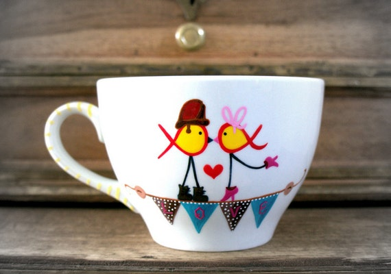 Vintage Firefighter Ribbon Love Birds - 1 Cappuccino Mug