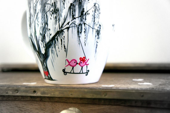 Pink Ribbon Love Birds in Willow Tree : Making the Journey Together - Hand Painted Mug