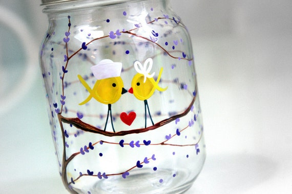 Navy Yellow Ribbon Love Birds - I Love My Sailor. 1 Glass Jar Tumbler : Support Our Troops