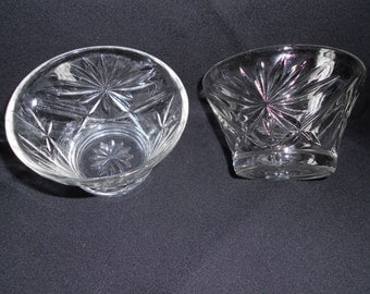 Vintage Anchor Hocking Prescut Oatmeal Custard Cups - Set of 2