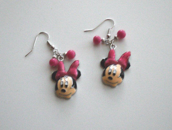 Minnie Mouse Earrings (Pink)