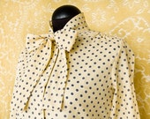 Cheery Yellow Button up shirt with Purple Polka Dots